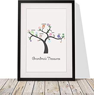 Personalized Gift For Grandmother - Framed Print With Mount - Grandma's Treasures Grandchildren |12x10 Inch Wall Décor Art for Grandmom on Birthdays, Women's Day, Mother's Day