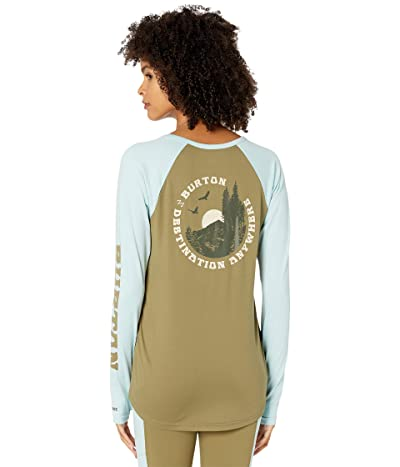 Burton Roadie Base Layer Tech T-Shirt (Martini Olive/Ether Blue) Women