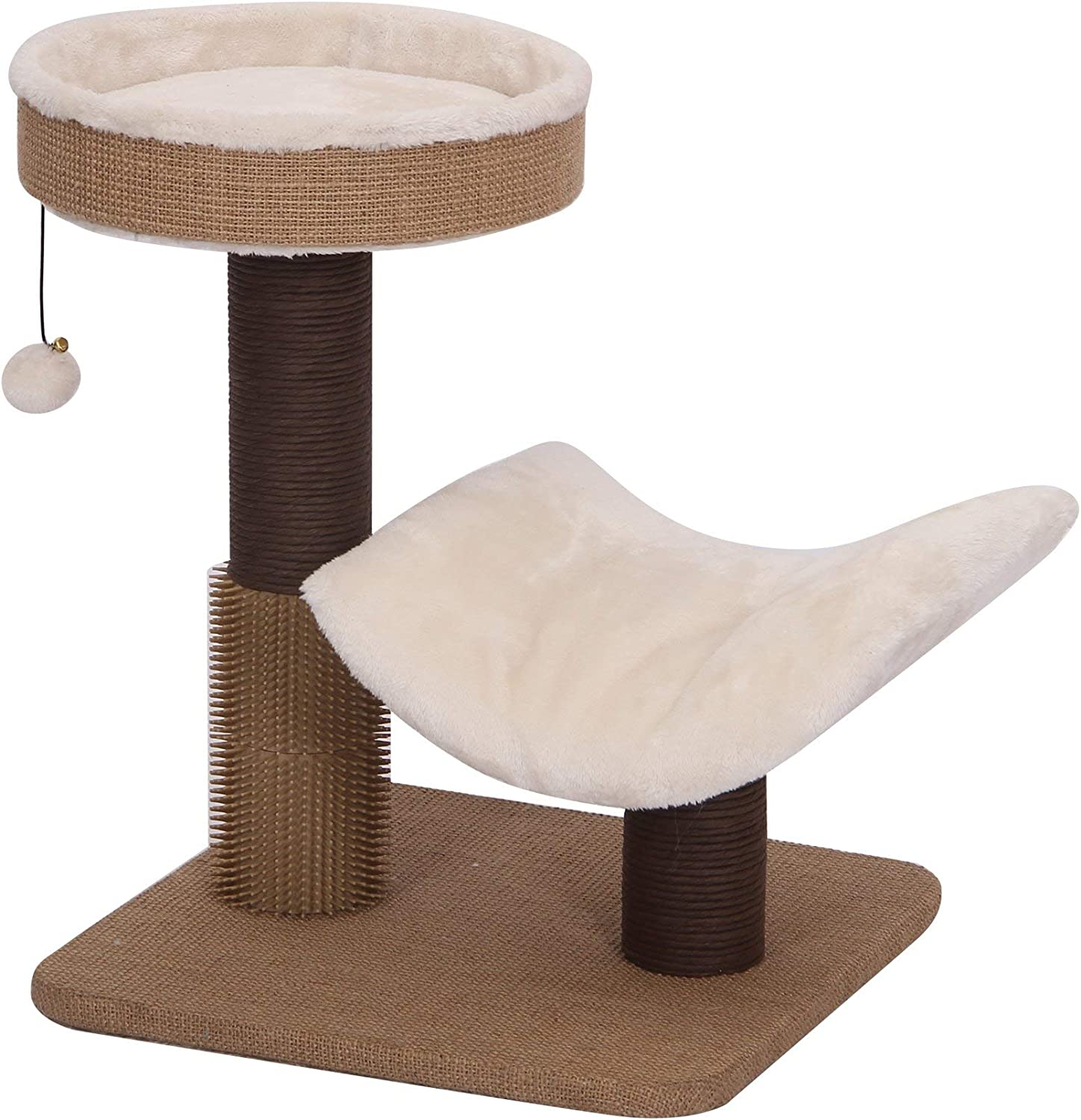 PetPals Group Cushy Jute & Fleece Two Level Cat Tree with Perches & Rubber Massager