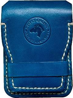Desert Orchid Hand Crafted Veg Tanned Leather Slim Card Holder Wallet for Men - Minimalist Wallet for Front Pocket (Blue)