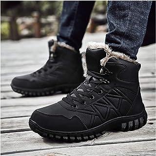WDZJM Bottes de Neige d'hiver pour Hommes, Plus des Chaussures Chaudes épaisses en Velours, Bottes en Coton Hautes impermé...