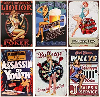 YOMIA Vintage Look Sexy Lady Girl Woman Reproduction Metal Tin Signs Pub Cafe Bar Garage Retro Marks Plaque Iron Painting Wall Poster Home Hanging Patterns DIY Pictures Decorating (Set of 6)
