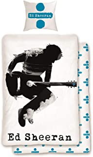 Familando Ed Sheeran - Juego de Cama Reversible (135 x 200 cm, 80 x 80 cm, 100% algodón, linón, tamaño estándar alemán), diseño de Guitarra, Color Blanco