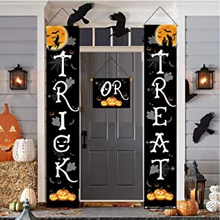 JOZON Halloween Outdoor Decoration Trick or Treat Banner for Front Door Display Durable Home Decor 3 Pcs Halloween Hanging Sign for Home Office Porch Front Door Halloween Decorations for Ready to Welcome Kids