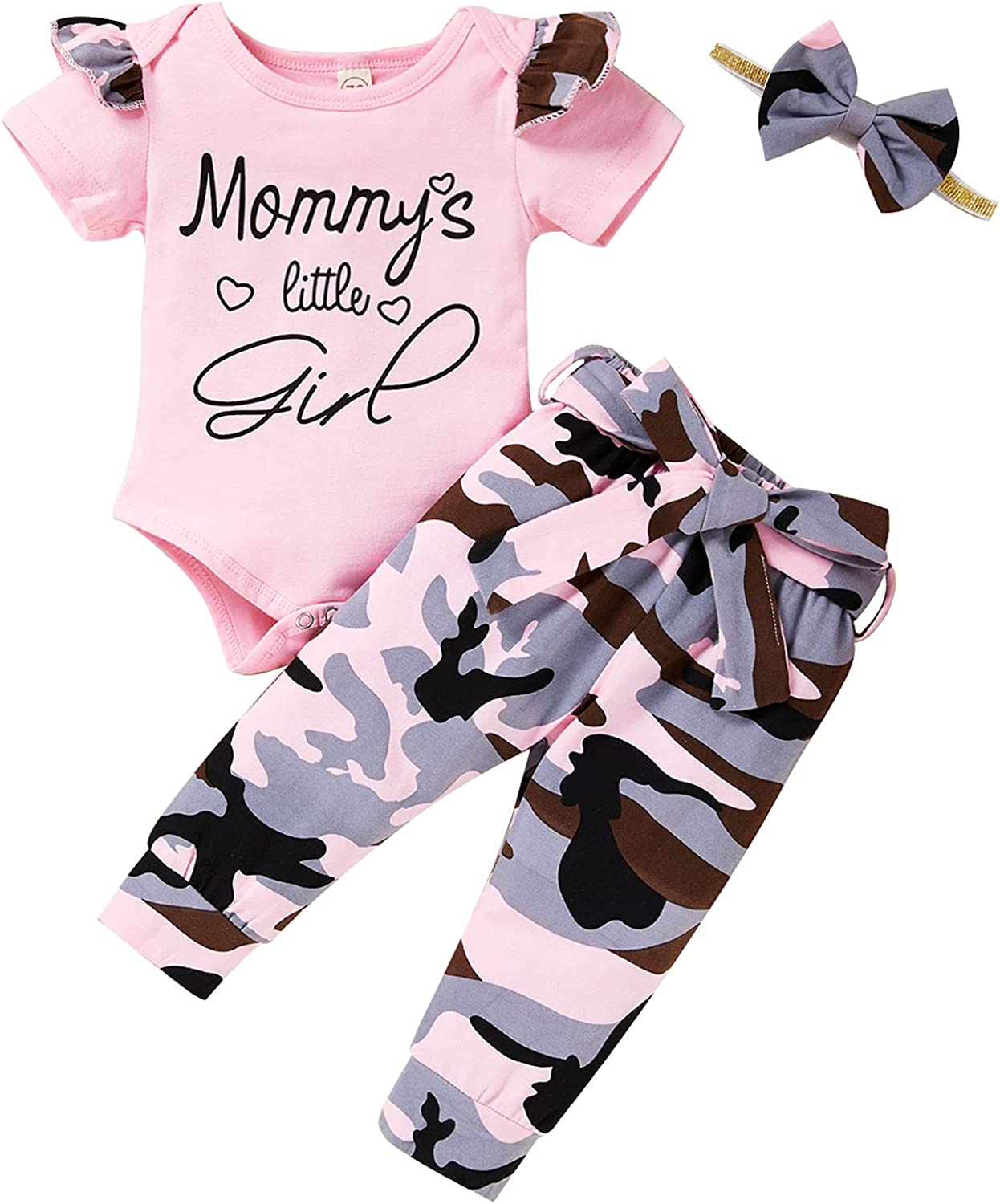 Viworld Newborn Baby Girl Clothes Ruffled Short Sleeve Letter Romper+Camouflage Pants+Headband 3Pcs Summer Outfits