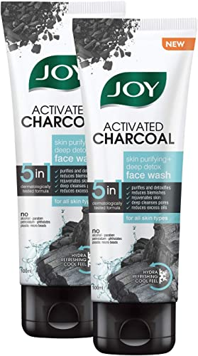 Joy Activated Charcoal Face Wash Skin Purifying Deep Detox No Paraben For All Skin Type Pack of 2 X100 ml