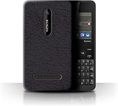 STUFF4 Phone Case/Cover for Nokia Asha 210 / Olive Black Design/Leather Patch Effect Collection