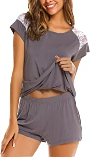 Women's Pajama Set Short Sleeve Sleepwear Pjs Sets Ladies 2-Piece Nightwear(S-XXL)