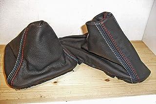 compatibili cuffia cambio e freno vera pelle nera con cuciture Msport compatibili con BMW e90 e91