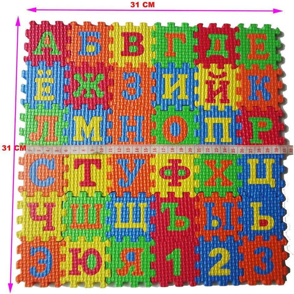 KingbeefLIU Rompecabezas 36 Unids//Set Alfabeto Ruso Alfombra De Rompecabezas EVA Beb/é Ni/ños Rompecabezas Estera De Aprendizaje Juguete