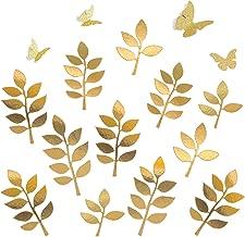Letjolt Paper Leaves Paper Butterflies Set Decorations for PhotoWall Crafts Leaf(12pcs) & Glitter Butterfly(4pcs) Nursery Decor Baby Shower Wedding Backdrop Birthday, Glitter Gold