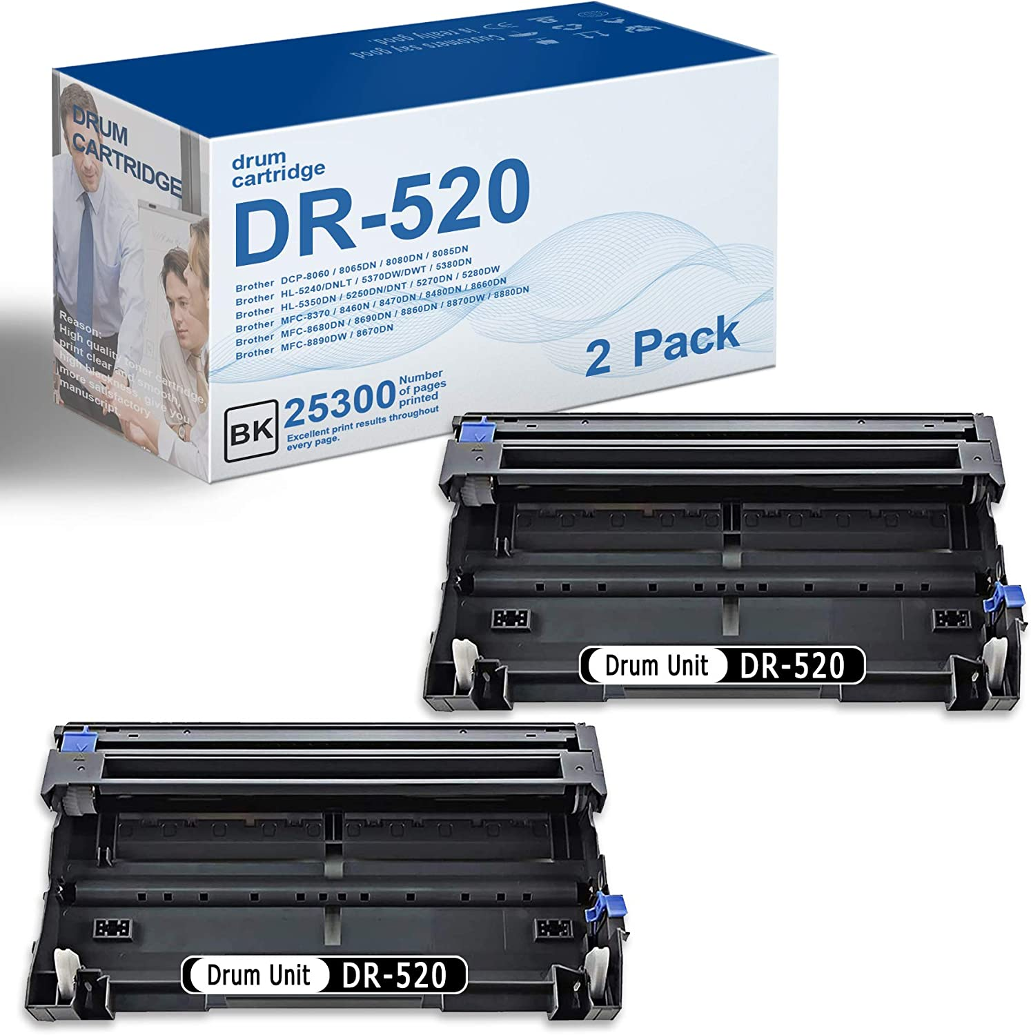 2 Pack Black DR-520 DR520 Compatible Drum Unit Replacement for Brother DCP-8060 8080DN 8085DN HL-5240/DNLT 5380DN 5350DN 5270DN 5280DW MFC-8370 Printer Drum Unit,High Page Yield Up to 25,300 Pages