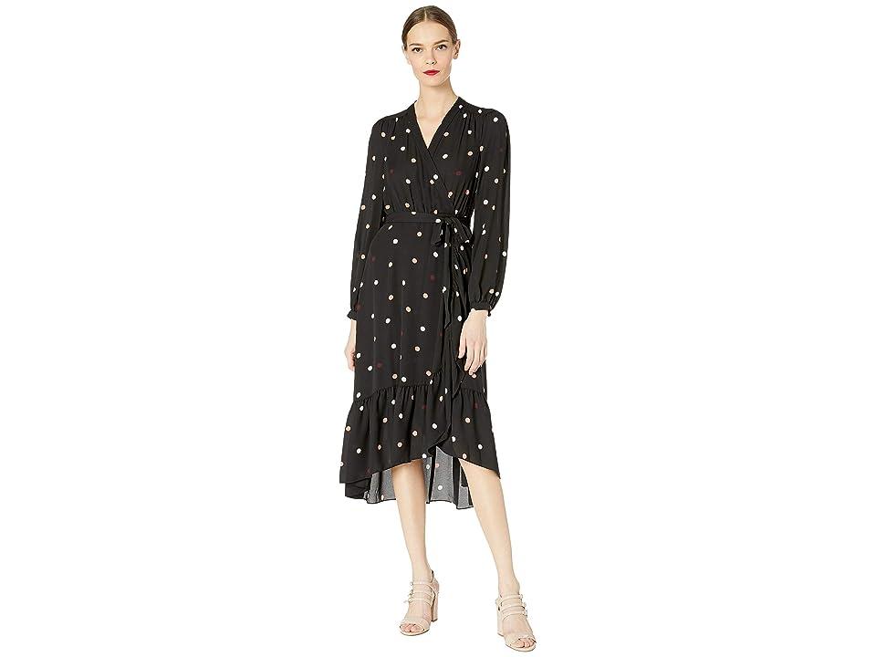 Kate Spade New York Glitzy Ritzy Bakery Dot Wrap Dress (Black) Women