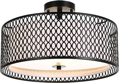 Luburs Ceiling Light Fixture, 17in Black Metal Flush Mount Light Fixture , Ceiling Lamp for Bedroom, Kitchen, Bathroom, Hallw