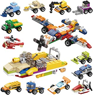 D-FantiX Mini Building Blocks Set, 12PCS Assembly Car Vehicle Building Bricks for Birthday Party Favor Goodie Bags Fillers Toddlers Kids Prizes Toy Gift