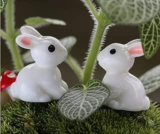 Smilesky Miniature Bunny Figure Animal Rabbit Toys Fairy Garden Party Decorations White 0.8