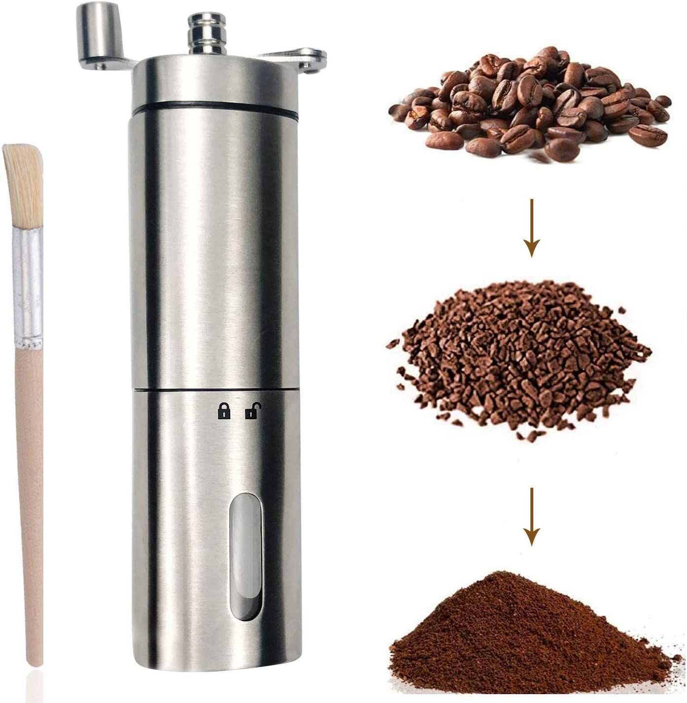 Manual Coffee Grinder Mesa Mall Portable Hand Grind Steel Milwaukee Mall Stainless