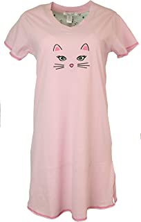 Women's Plus Size Nightgown, 100% Cotton, Short Sleeves