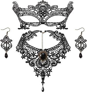 Makone Gothic Lace Choker Gotico Lolita Retro Collana Girocollo Choker Collana e Orecchini di Pizzo Nero Set Stile Vintage...
