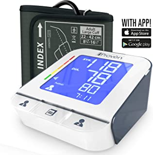 Blood Pressure Monitor - High Accuracy Automatic Upper Arm Premium Machine - iProvèn BPM-2244BT with App for iPhone and Android - Large BP Cuff - Best Among ...