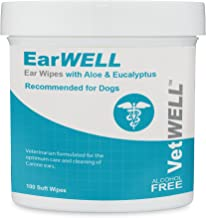 VetWELL Dog Ear Wipes - Otic Cleaning Wipes for Infections and Controlling Yeast, Mites and Odor in Pets - EarWELL 100 Count