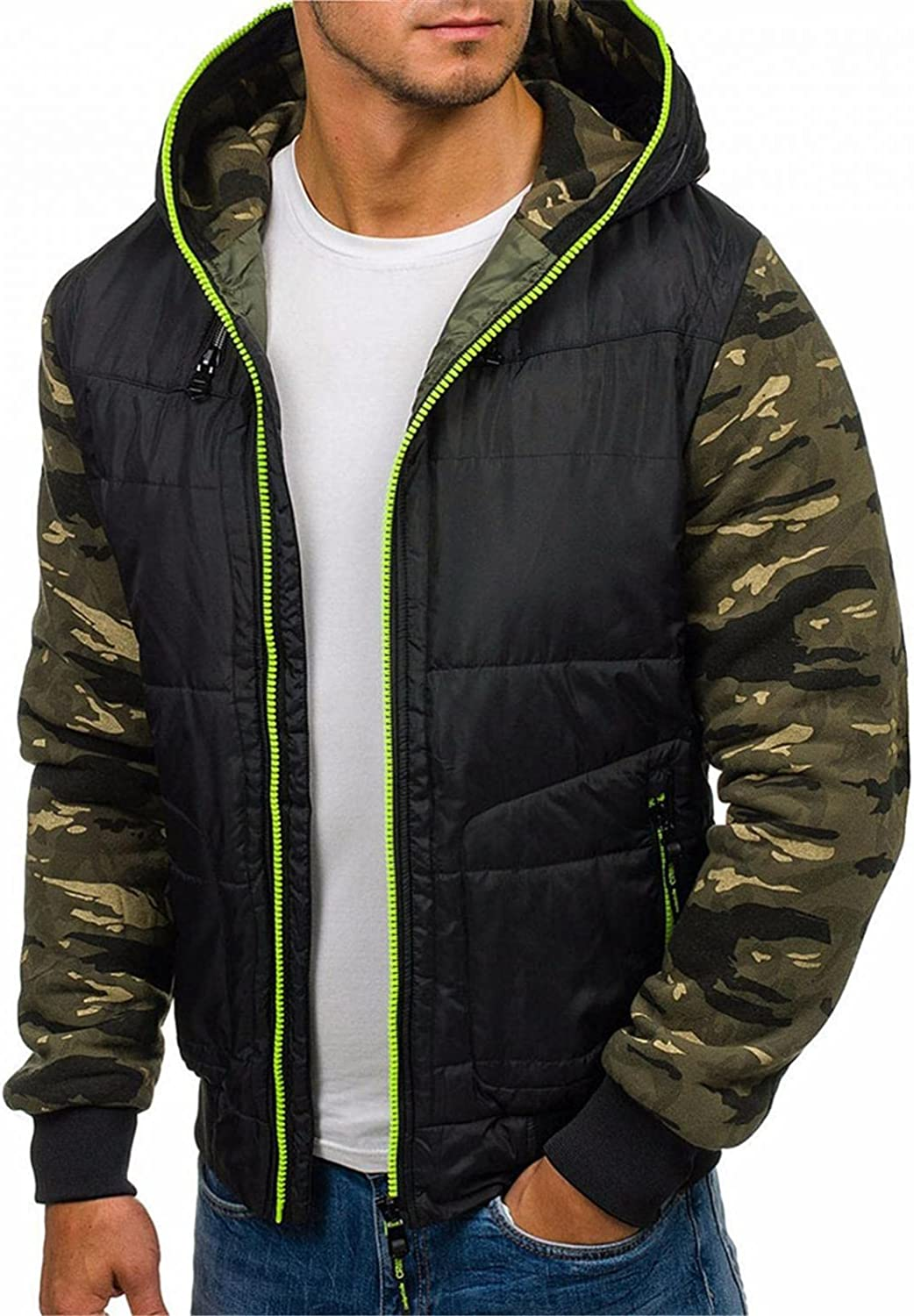 XUNFUN Camo Puffer Jacket Men with Hood Ultra Loft Quilted Packable Contrast Down Jackets Fashion Thick Winter Coat Outwear