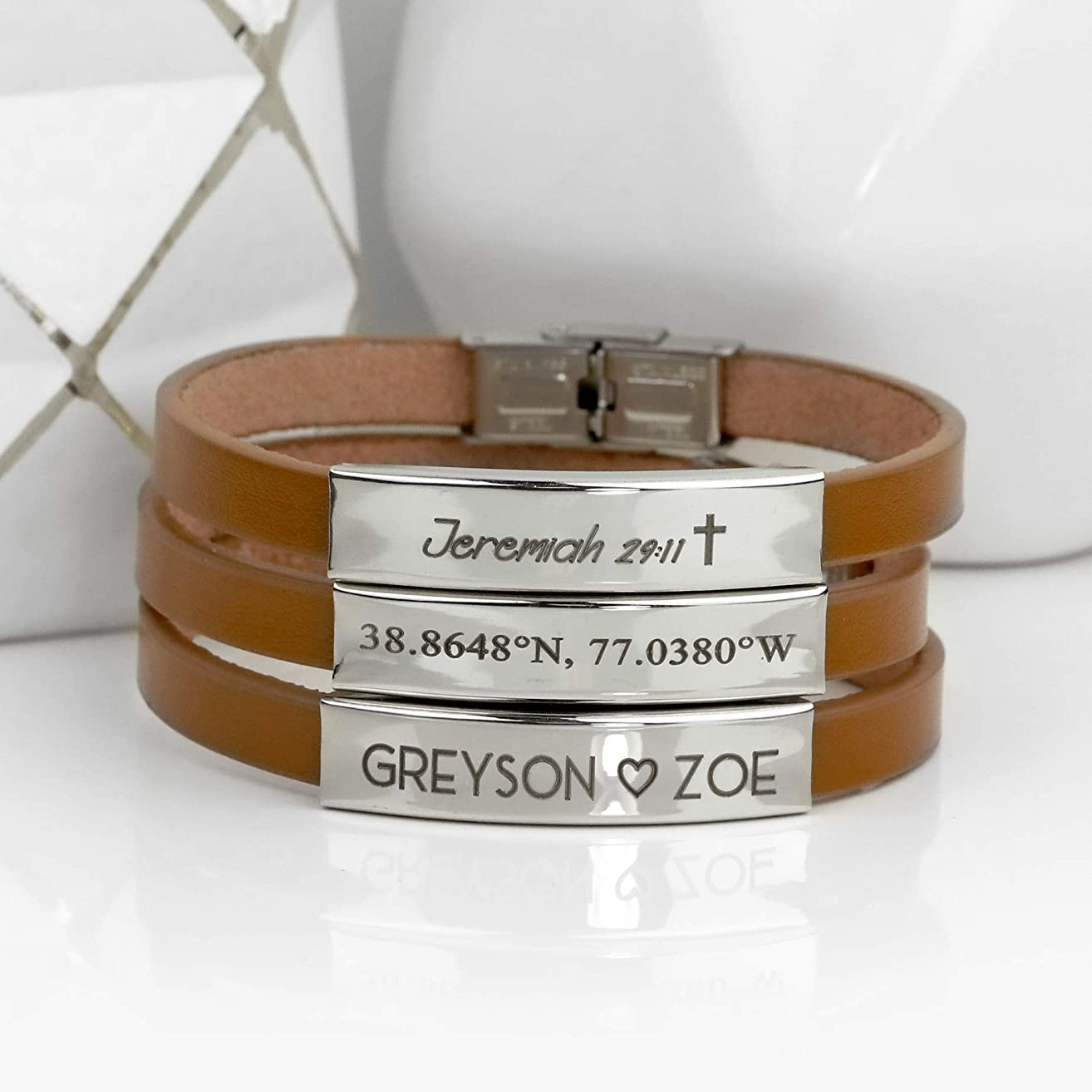 SAME DAY SHIPPING Before 12pm Leather Mens Bracelet Personalized Fathers Day Gifts for Him Mens Jewelry Genuine Leather Mens Personalized Bracelet Dad Gift Mens Gift Graduation - BNLBR