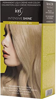 ION Intensive Shine Permanent Liqui-Creme Hair Color Kit Fade Resistant Gray Coverage 2.5 Times More Shine Brilliant Long Lasting Color - Light Blonde 9N