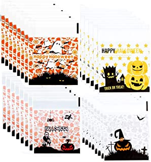 TraderPlus 400 Pieces Self Adhesive Halloween Cookie Bags for Candy Bakery Biscuit Chocolate Snacks Party Favors Homemade ...