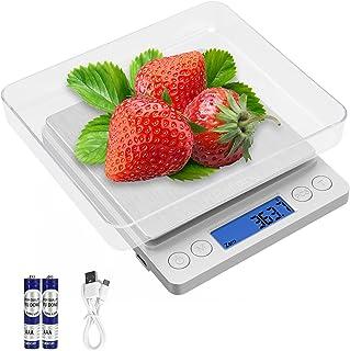 KPafory Balance de Cuisine avec écran LCD / Fonction Tare/Compte, USB Rechargeable/ Batteries Haute Précision Balance Alim...