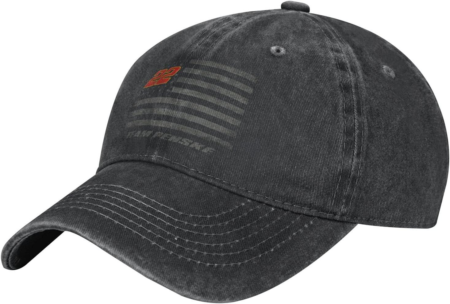 GAiNViEW Joey Logano Denim Cap Adjustable Plain Baseball Cowboy Hat Cotton Sunbonnet Plain Hat Black