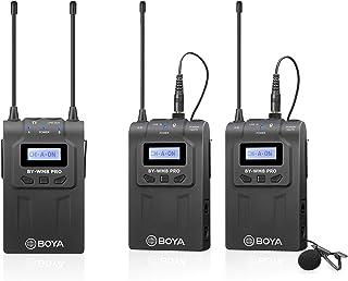 Boya UHF Sistema de micrófono inalámbrico Lavalier con transmisores inalámbricos y receptorcompatible con cámaras CanonNikonSonyDSLR y XLRde iPhoneideal de Inteviewgrabación de vídeovlogging