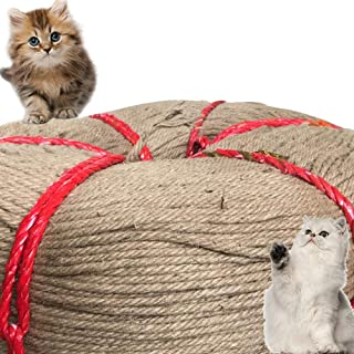 Hamkaw Cat Scratching Post Hemp Rope 229 Feet Replacement Jute Rope for Cat Tree and Tower, Natura Twisted Hemp Rope for Repairing Recovering Or DIY Scratcher Pet Toys (6mm Diameter)