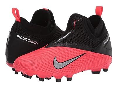 Nike Kids JR Phantom VSN 2 Academy DF FG/MG (Little Kid/Big Kid) (Laser Crimson/Metallic Silver/Black) Kids Shoes
