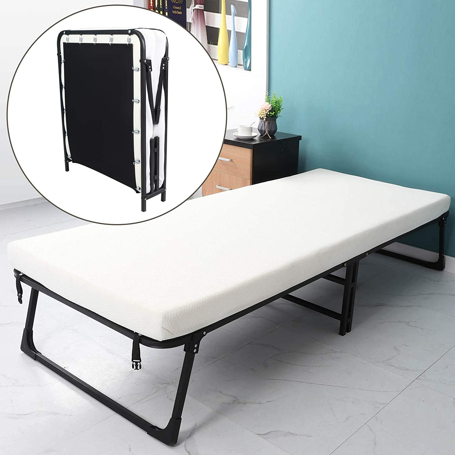 Folding Bed and Gel Thick Memory Foam Mattress with Wheels Guest Beds Portable Foldable Bed (74.8x31.4x10.6 inch, New Arrivel)
