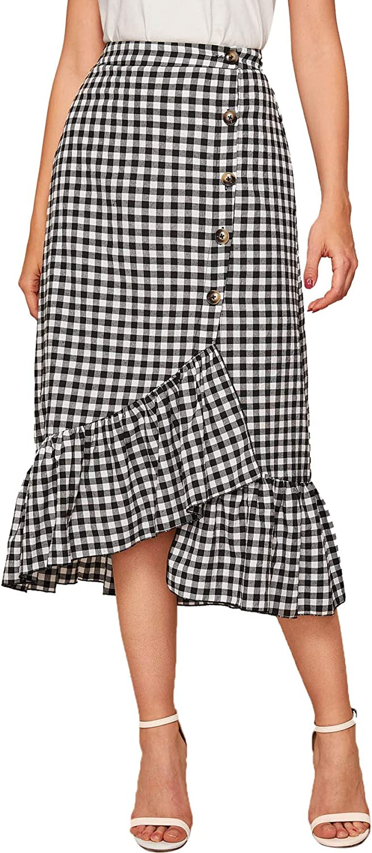 Milumia Women Casual High Waist Asymmetrical Button Ruffle Hem Gingham Plaid Midi Skirt