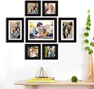 Art Street Chief Wall Photo Frame with Hanging Accessories (5x5, 6x8, 8x10 inches, Black) - Set of 7
