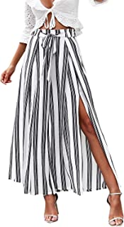 Simplee Apparel Simplee Women's Elegant Striped Split High Waisted Belted Flowy Wide Leg Pants
