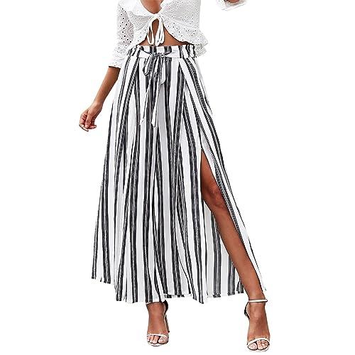 c13effd554 Simplee Women's Elegant Striped Split High Waisted Belted Flowy Wide Leg  Pants