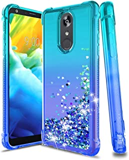 LG Stylo 4 Phone Case,LG Stylo 4 Plus Case,LG Q Stylus Case,Glitter Bling Floating Liquid Quicksand Silicone Slim Non-slip Shockproof Bumper Protective TPU Phone Cover for Girls Women,Teal/Blue