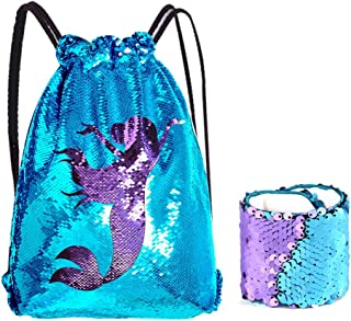25c3c46c63 Kuuqa Sequin Mermaid borsa e bracciale con coulisse zaino sportivo Magic  reversibile Sequin glitter Wristband palestra
