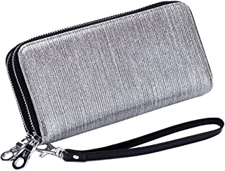 Women's Wallet RFID Blocking Leather Double Zipper Cellphone Wallet Long Purse with Removable Wrist Strap (Silver)