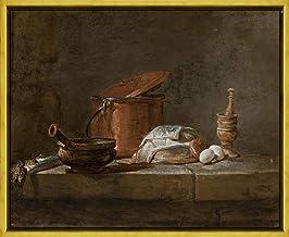Berkin Arts Marco Jean Baptiste Simeon Chardin Giclee Lienzo Impresión Pintura póster Reproducción Print(Bodegón con puerro aserole y un paño) #XLK