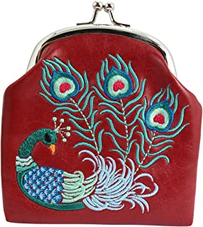 Divine Peacock Embroidered Kisslock Coin Purse (Red)