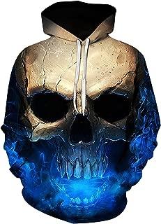 3D Effect Skull Print Pullover Hoodie