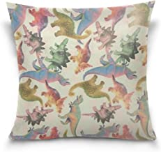 "MASSIKOA Dinosaur Decorative Throw Pillow Case Square Cushion Cover 16"" x 16"" for Couch, Bed, Sofa or Patio - Only Case, D..."