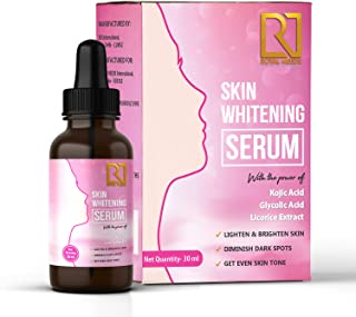 Royal needs skin lightening Whitening Serum with kojic acid, glycolic acid and licorice extract for lightening dark spots, acne marks, pigmentation, and melasma for face, neck, body and bikini areas 30ml