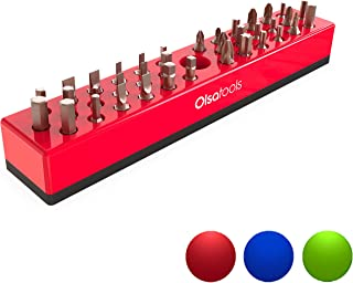 Olsa Tools Professional Hex Bit Organizer with Magnetic Base | Premium Quality Hex Bit Holder for Your Specialty, Drill or Tamper Bits (Red)