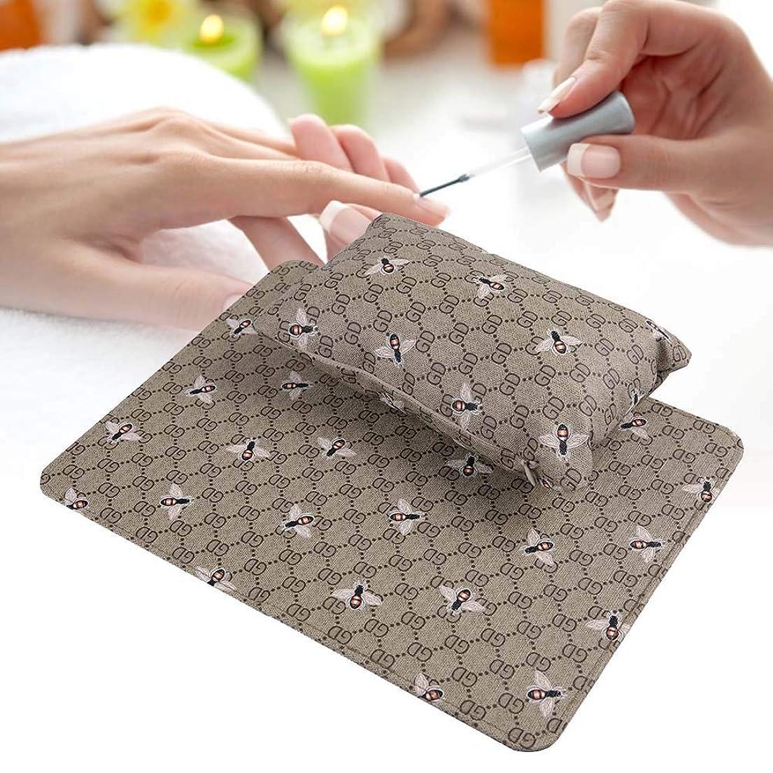 きらきら文句を言う天才折りたたみ マニキュアテーブル付き 洗える ハンドレスト枕 ソフト PUレザー/取り外し可能 (オリーブグリーン)