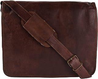 GORRIES Bolso de hombro de cuero de 15 pulgadas para hombre, hecho a mano, de cuero genuino, bolso de hombro para ordenado...